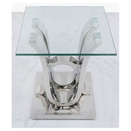 Tate Glass & Stainless Steel Side Table - The Furniture Mega Store