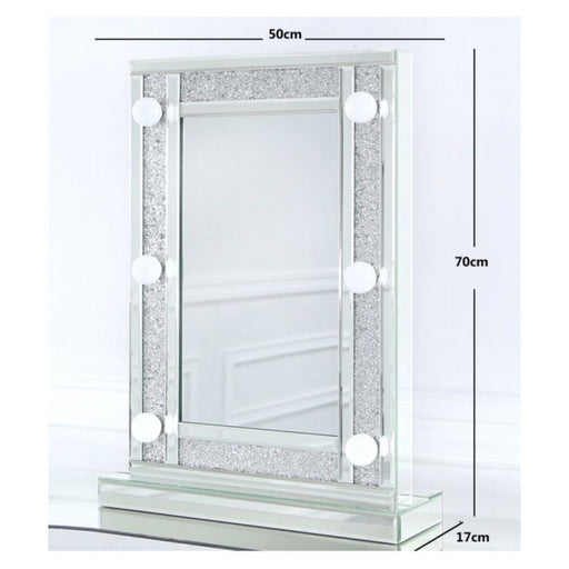 Sparkle Mirrored Broadway 6 Light Vanity Mirror - The Furniture Mega Store