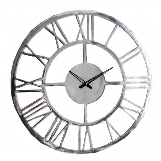 Large Wall Clock Polished Aluminium