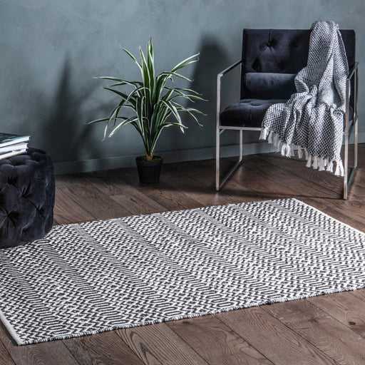 Callao Rug Black & Cream - The Furniture Mega Store