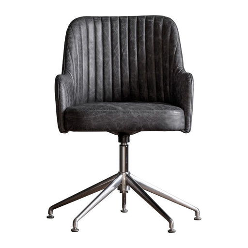 Curie Swivel Chair Antique Ebony Leather