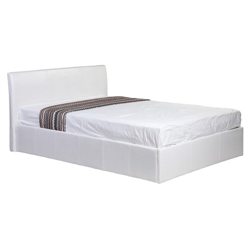 Fusion Small Double 4ft Storage Bed - White Faux Leather