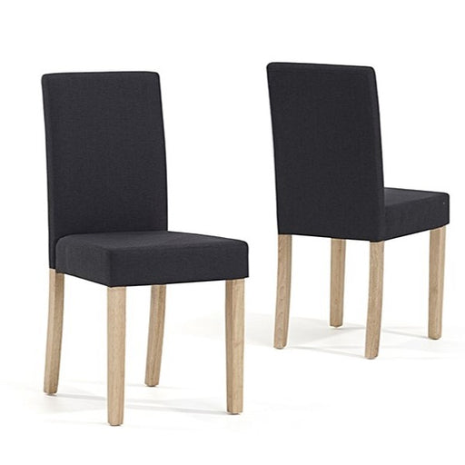 Maiya Dark Grey-Black Weave Fabric Oak Leg Dining Chairs - Set Of 2