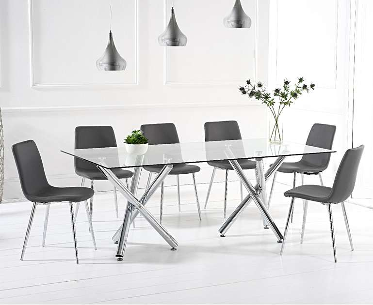Xena 200cm Dining Table With 6 Grey Faux Leather Chairs