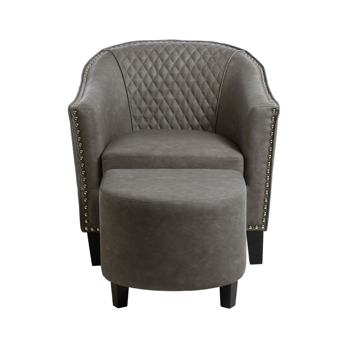 Grey Faux Leather Chair & Footstool