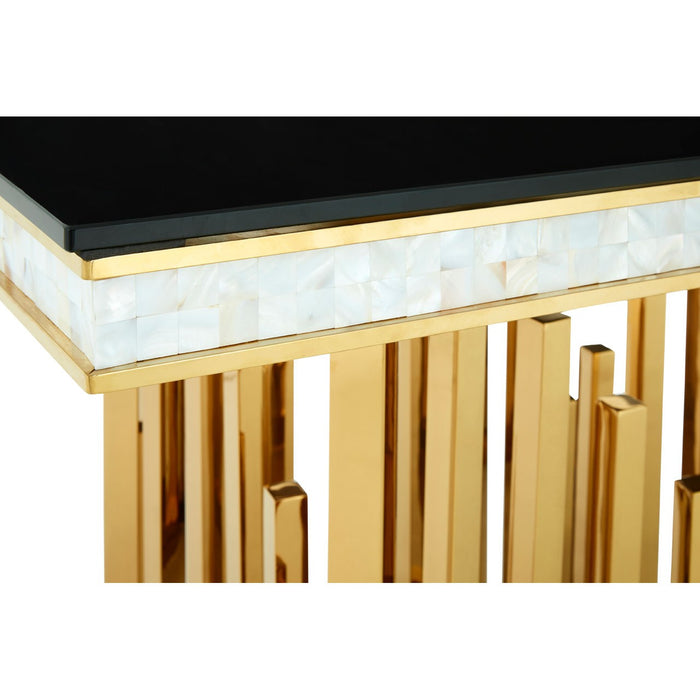 Eliza Gold Finish Glass Top Dining Table