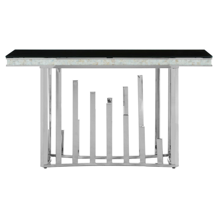Eliza Silver Finish - Mother of pearl Inlay Console Table