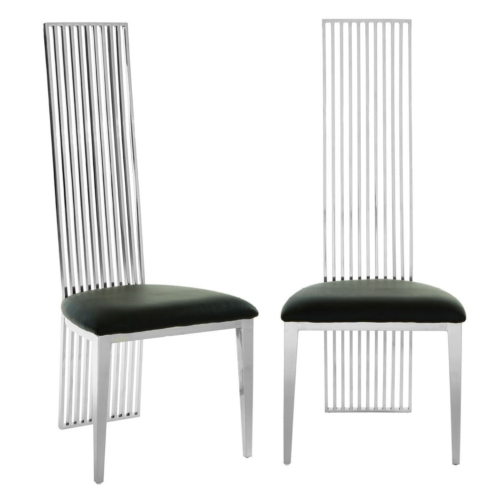Eliza Silver Finish & Faux Leather Dining Chairs {Set Of 2}