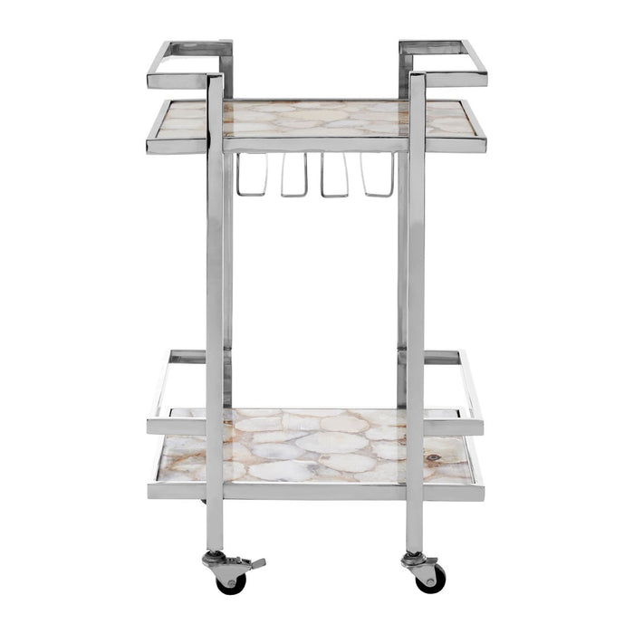 Vita White Agate Drinks Trolley
