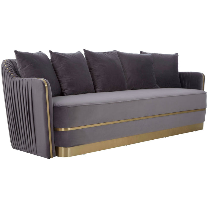 Shea 3 Seat Pleated Back Velvet Sofa - The Furniture Mega Store