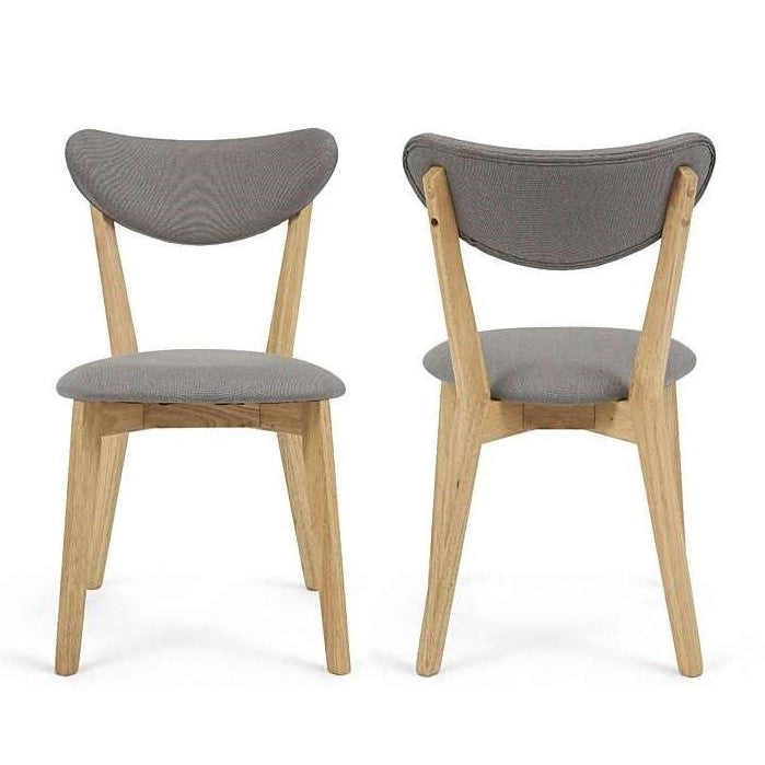 Scarlet Oak & Grey Fabric Dining Chairs {Set Of 2}