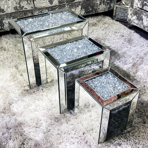 Diamond Crushed Mirrored Nest Of Tables