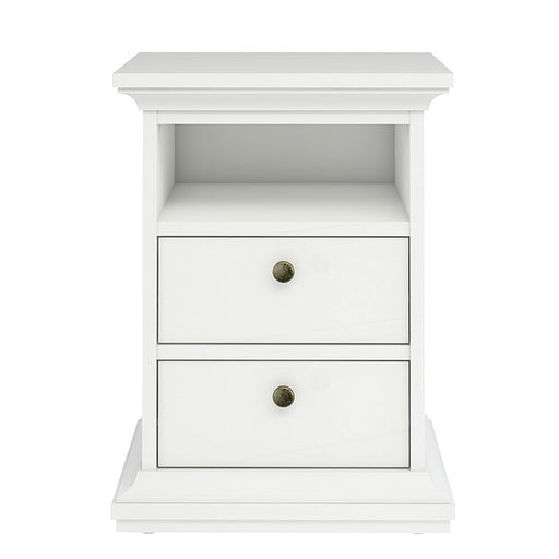 Parisian 2 Drawer Bedside in White - The Furniture Mega Store