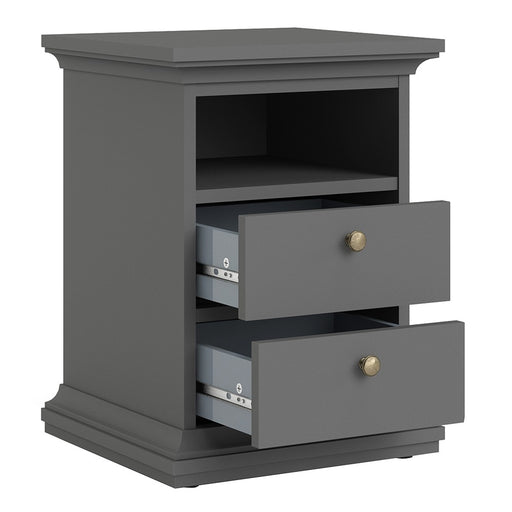 Parisian 2 Drawer Bedside in Matt Grey