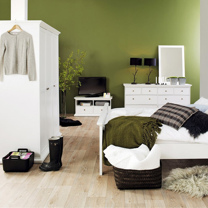 Parisian 3 Door Triple Wardrobe in White - The Furniture Mega Store