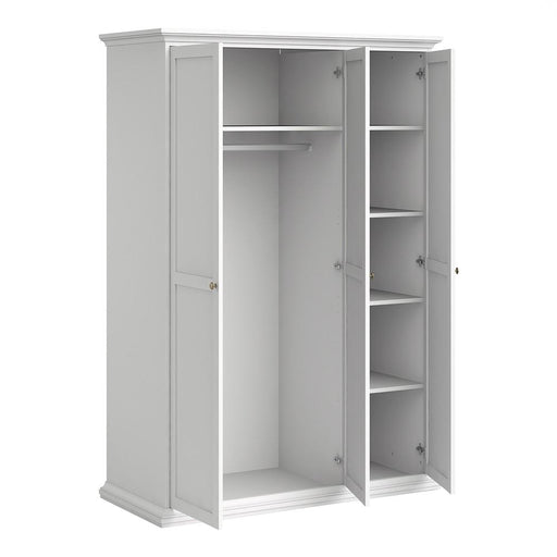 Parisian 3 Door Triple Wardrobe in White