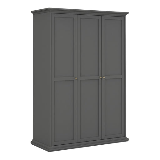 Parisian 3 Door Triple Wardrobe in Matt Grey