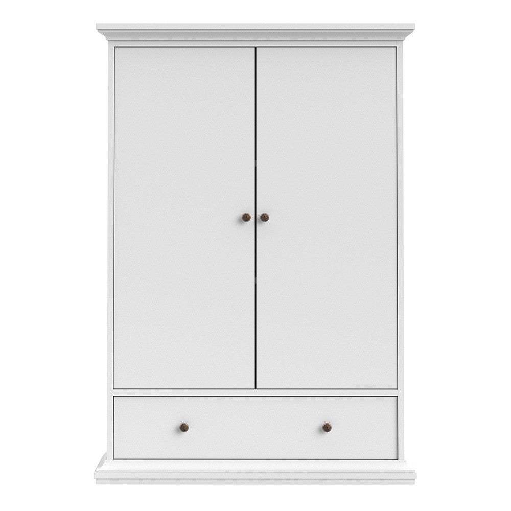 Parisian 2 Door 1 Drawer & 2 Shelves Wardrobe in White - The Furniture Mega Store
