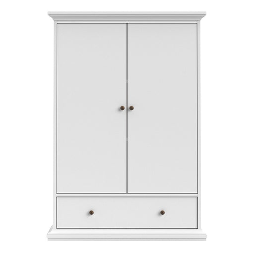 Parisian 2 Door 1 Drawer & 2 Shelves Wardrobe in White