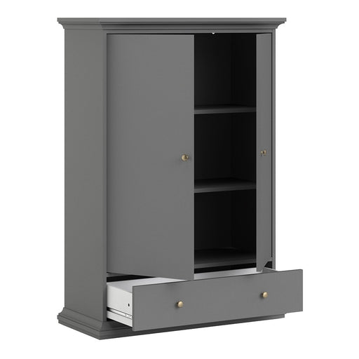 Parisian 2 Door 1 Drawer & 2 Shelves Wardrobe in Matt Grey