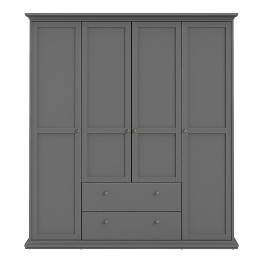 Parisian Wardrobe with 4 Doors and 2 Drawers in Matt Grey
