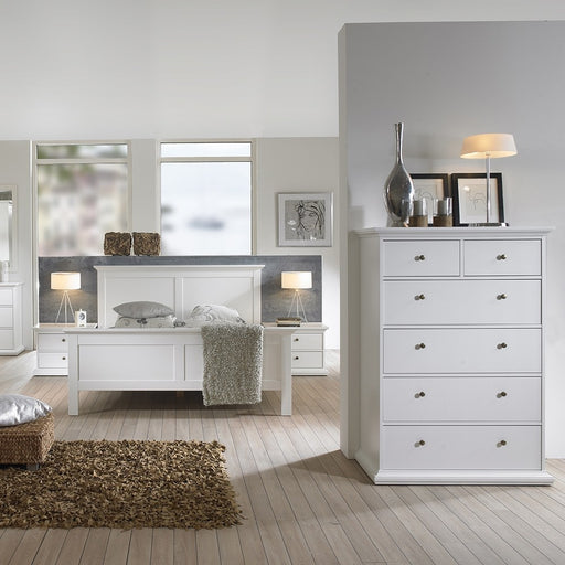 Parisian Chest of 6 Drawers in White - The Furniture Mega Store