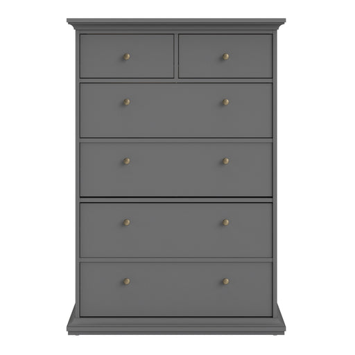 Parisian Chest of 6 Drawers in Matt Grey
