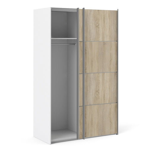 Verona Sliding Wardrobe 120cm in White with Oak Doors with 2 Shelves - The Furniture Mega Store