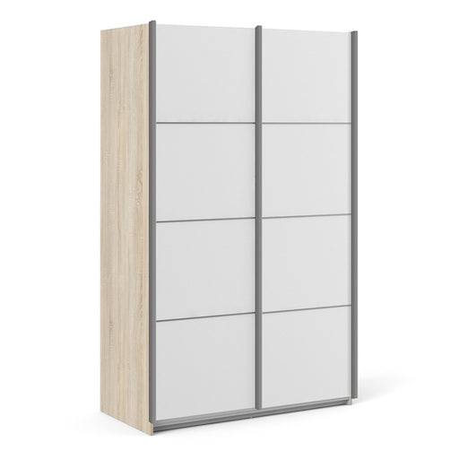 Verona Sliding Wardrobe 120cm in Oak with White Doors with 2 Shelves - The Furniture Mega Store