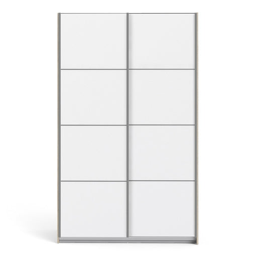 Verona Sliding Wardrobe 120cm in Oak with White Doors with 2 Shelves