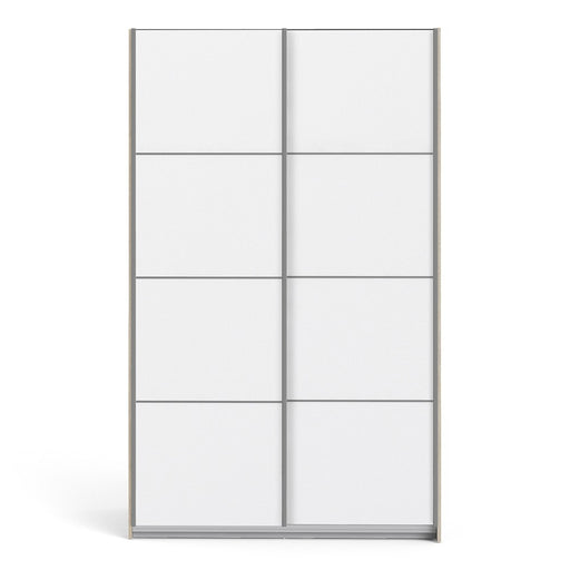 Verona Sliding Wardrobe 120cm in Truffle Oak with White Doors with 2 Shelves - The Furniture Mega Store