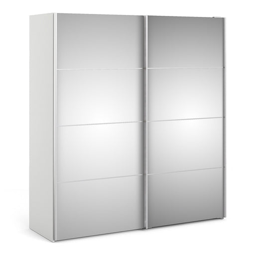 Verona Sliding Wardrobe 180cm in White with Mirror Doors with 2 Shelves