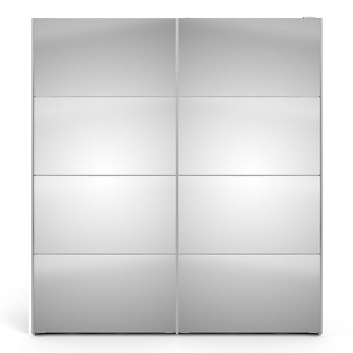 Verona Sliding Wardrobe 180cm in White with Mirror Doors with 2 Shelves - The Furniture Mega Store