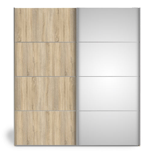 Verona Sliding Wardrobe 180cm in Oak with Oak and Mirror Doors with 2 Shelves - The Furniture Mega Store