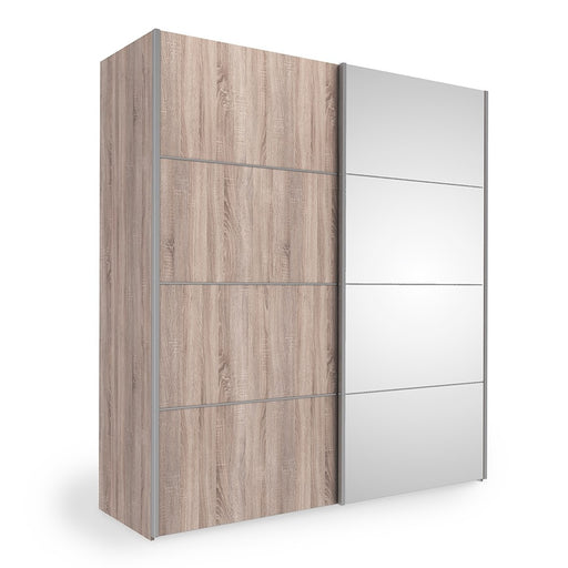 Verona Sliding Wardrobe 180cm in Truffle Oak with Truffle Oak and Mirror Doors with 2 Shelves - The Furniture Mega Store