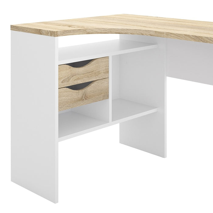 Corner Desk 2 Drawers in White and Oak