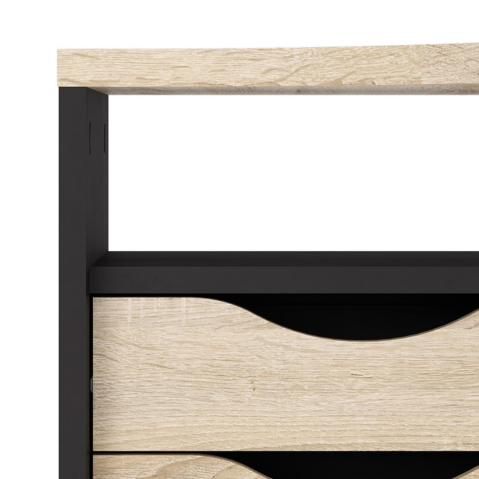 Corner Desk 2 Drawers in Black Matt and Oak
