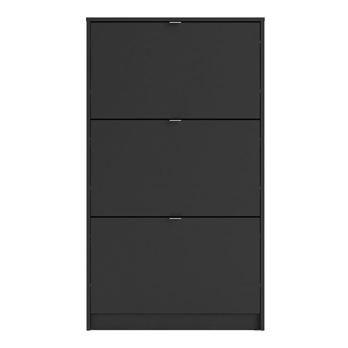 Shoe Cabinet 3 Compartments in Black