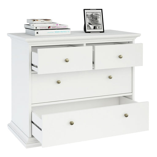 Parisian Chest of 4 Drawers in White - The Furniture Mega Store