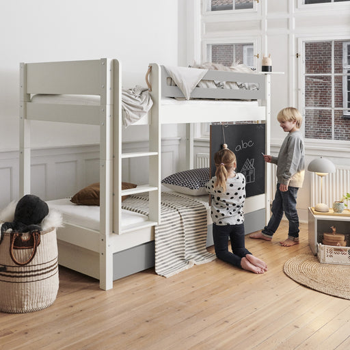 Zizi Bunk Bed with Safety Rail & 2 Under Bed Storage Drawers - White & Silver-Grey - The Furniture Mega Store