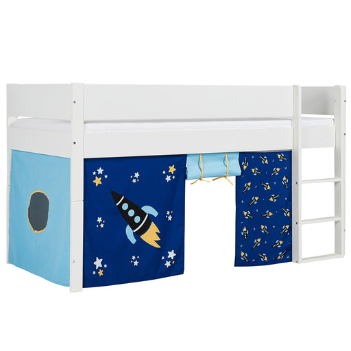 Huxie White Mid Sleeper with Safety Rail - White & Blue Rocket Play Curtain - The Furniture Mega Store