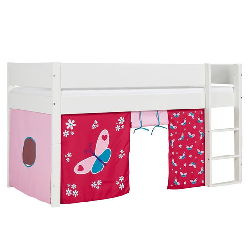 Huxie White Mid Sleeper with Safety Rail - White & Red Butterfly Play Curtain - The Furniture Mega Store