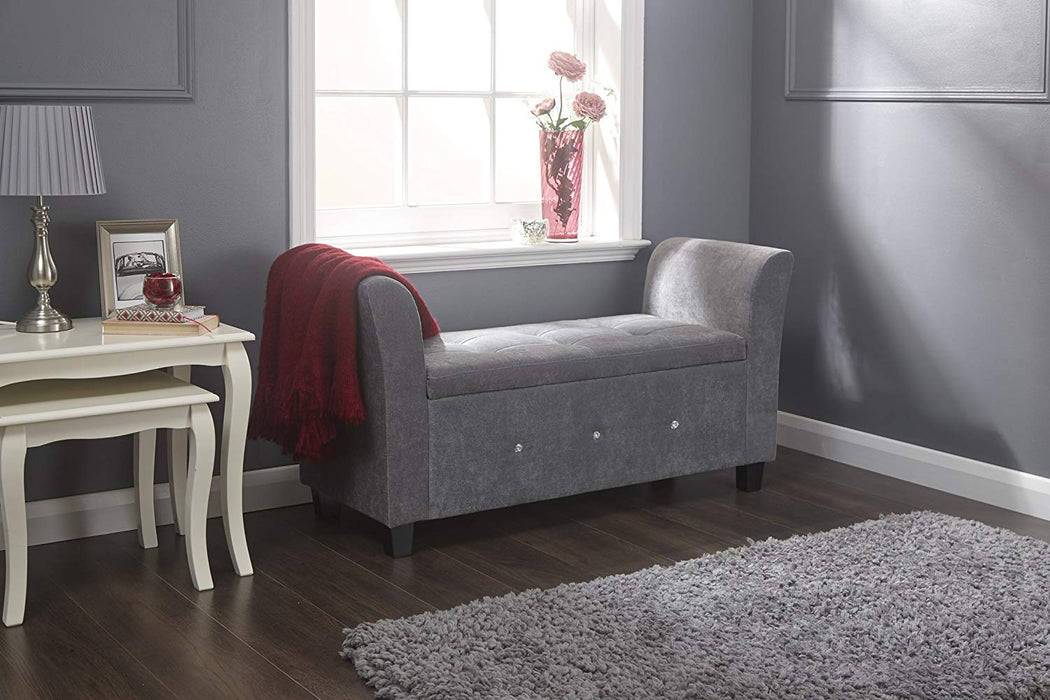 Vera Upholstered Window Seat / Bench - Grey
