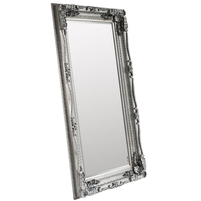 Carved Louis Leaner Mirror Silver Leaf