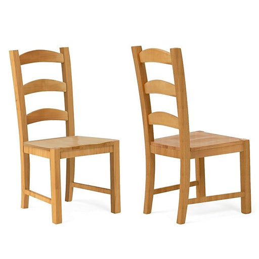 Valence Solid Oak Ladder Back Dining Chairs - Set Of 2