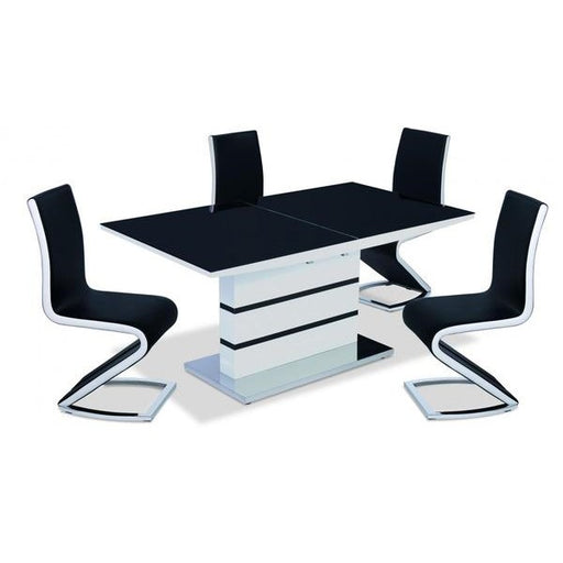 Spencer High Gloss Extendable Dining Table White with Black Glass Top & 4 chairs - The Furniture Mega Store
