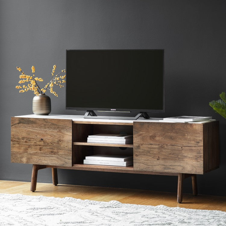 Barcelona Media Cabinet - Dark Oak & White Marble