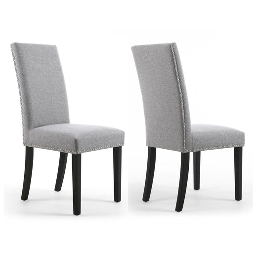 Linen Effect Silver Grey Dining Chairs With Black Legs {Set Of 2}