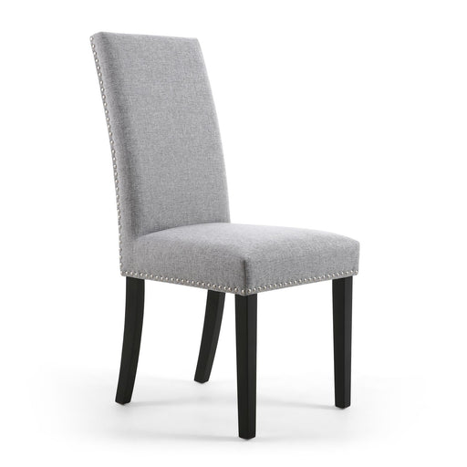 Linen Effect Silver Grey Dining Chairs With Black Legs {Set Of 2} - The Furniture Mega Store