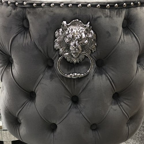 Valentino Grey Velvet Deep Tufted Lion Head Bar Stool